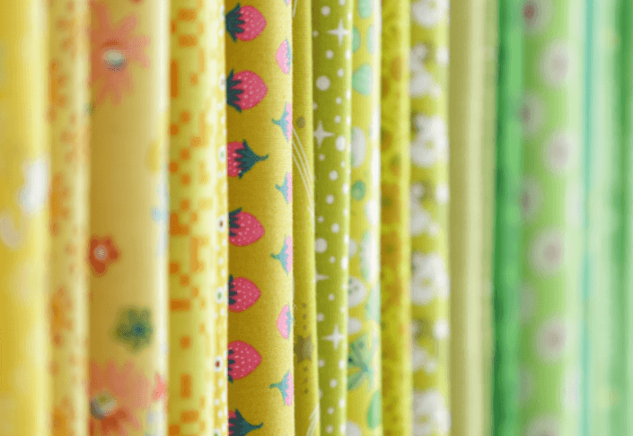 A close up of various fabrics at High Street Quilting
