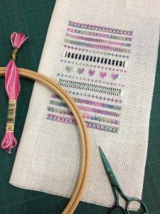 A close up of some embroidery