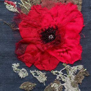 'Poppy' Textile Art